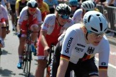 Mieke Kroger leading the peloton