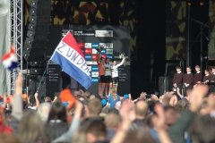 Womens podium & Dutch flags